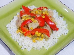 Potrawka z polędwicy, papryki i kukurydzy